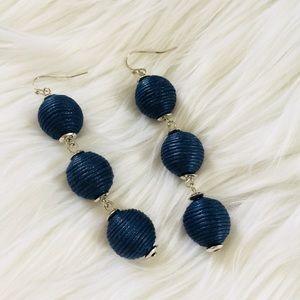 Jewelry - NEW Navy Bon Bon Triple Ball Dangle Earrings